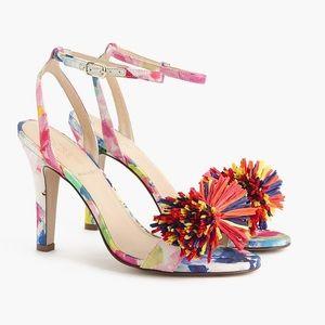 J Crew Raffia Bow Strappy Heels Shoes Sz8.5